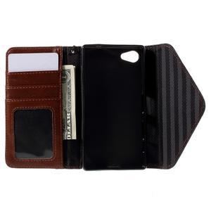 Štýlové Peňaženkové puzdro pre Sony Xperia Z5 Compact - hnedé/čierne - 7