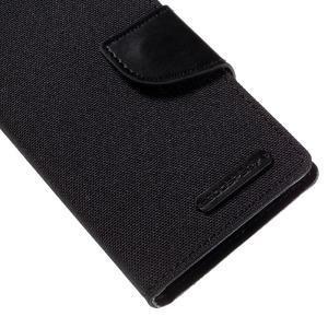 Canvas PU kožené/textilné puzdro pre Sony Xperia Z5 Compact - čierne - 7