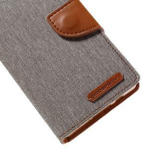 Canvas PU kožené/textilní pouzdro na Sony Xperia Z5 Compact - šedé - 7