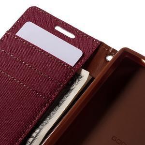 Canvas PU kožené/textilní pouzdro na Sony Xperia Z5 Compact - červené - 7