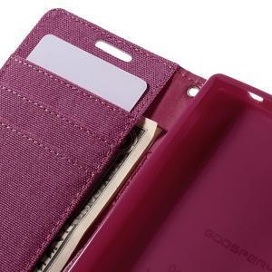 Canvas PU kožené/textilní pouzdro na Sony Xperia Z5 Compact - rose - 7