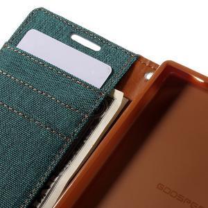 Canvas PU kožené/textilné puzdro pre Sony Xperia Z5 Compact - zelené - 7