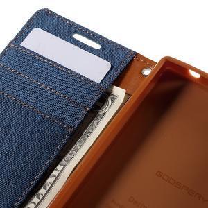 Canvas PU kožené/textilné puzdro pre Sony Xperia Z5 Compact - modré - 7