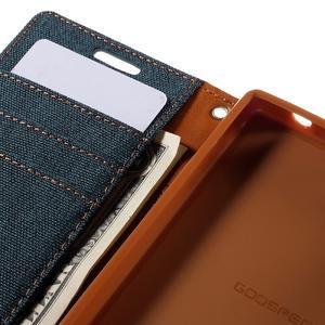 Canvas PU kožené/textilné puzdro pre Sony Xperia Z5 Compact - tmavomodré - 7