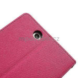 Peňaženkové PU kožené puzdro pre Sony Z Ultra - rose - 7