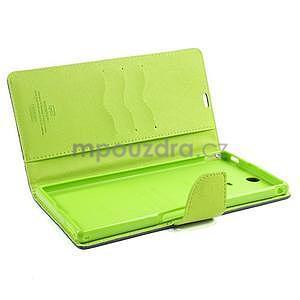 Peňaženkové PU kožené puzdro pre Sony Z Ultra - tmavomodré - 7