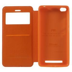Luxy PU kožené pouzdro s okýnkem na Xiaomi Redmi 3 - ooranžové - 7
