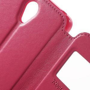 View PU kožené pouzdro s okýnkem na Xiaomi Redmi Note 2 - rose - 7