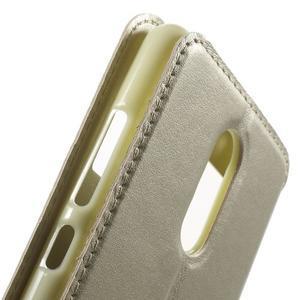 PU kožené pouzdro s okýnkem na Xiaomi Redmi Note 3 - zlaté - 7