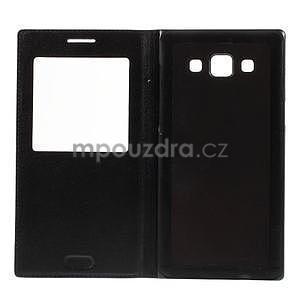 Kožené puzdro s okienkom pre Samsung Galaxy A5 - čierné - 7