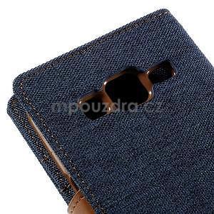 Štýlové textilné/PU kožené puzdro pre Samsung Galaxy Core Prime - modré - 7
