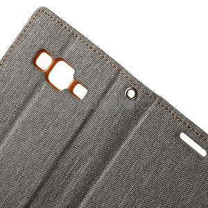 Stylové textilní/PU kožené pouzdro na Samsung Galaxy Core Prime - šedé - 7