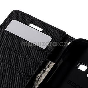 Stylové textilní/PU kožené pouzdro na Samsung Galaxy Core Prime - černé - 7
