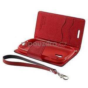 Diary peňaženkové puzdro na mobil Samsung Galaxy S3 mini - čierne/ červené - 7