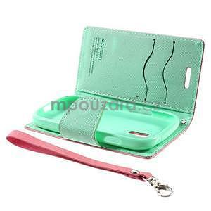 Diary peňaženkové puzdro na mobil Samsung Galaxy S3 mini - ružové/azúrové - 7