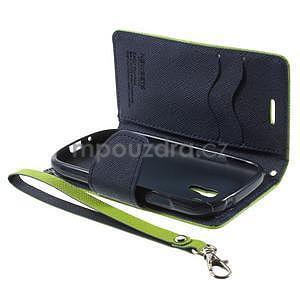 Diary peňaženkové puzdro na mobil Samsung Galaxy S3 mini - zelené/tmavomodré - 7