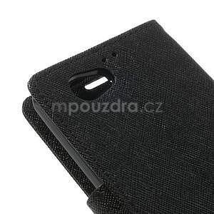 Fancy peňaženkové puzdro pre Sony Xperia Z1 Compact - čierne - 7