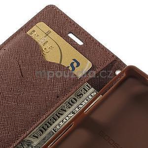 Diary Peňaženkové puzdro pre mobil Sony Xperia Z3 Compact - čierne/hnedé - 7