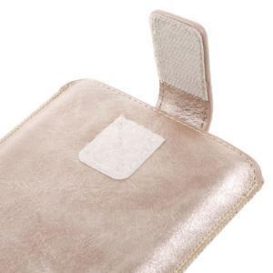 Univerzálne flipové puzdro pre mobily do 150 x 85 mm - zlatoružové - 7
