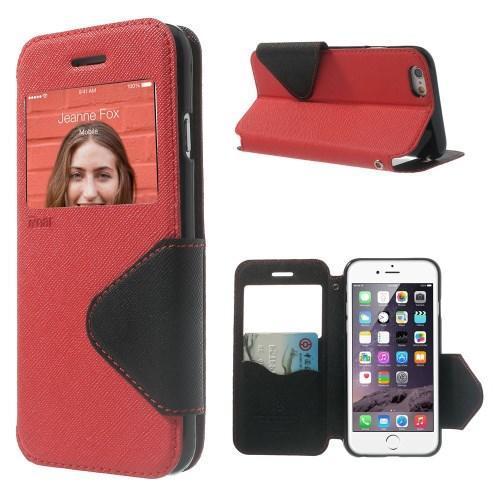 Peňaženkové puzdro s okienkom na iPhone 6 a 6s - červené - Mpuzdra.sk 846e6df990b