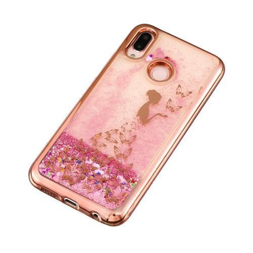 Glitter trblietavý presýpací gélový obal na mobil Huawei P20 Lite -  rozprávkové motýle - 2 2b3dff12b68