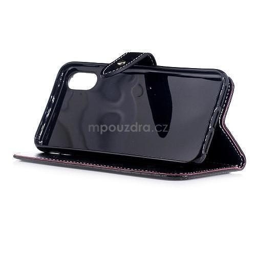 Croco PU kožené peňaženkové puzdro na iPhone X - čierne - 4. Loading zoom 59a98e1ee52