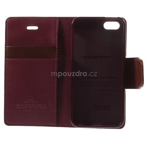 Peňaženkové koženkové puzdro pre iPhone 5s a iPhone 5 - vínové ... 8cba627c0fc